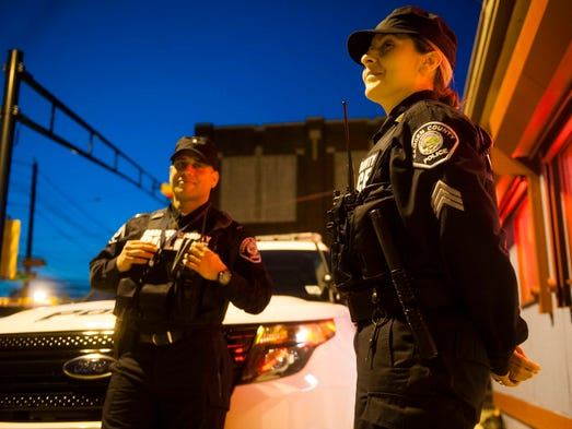 Portrait of Lt. Benito Gonzalez and Sgt. Linda Alicea, Community Safety Team, May 2, 2014 in Camden.