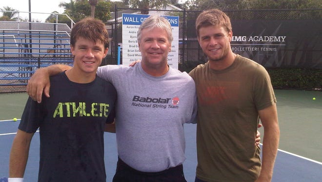 Christian (left) and Ryan (right) train with their father and coach Pat Harrison at IMG Academy.