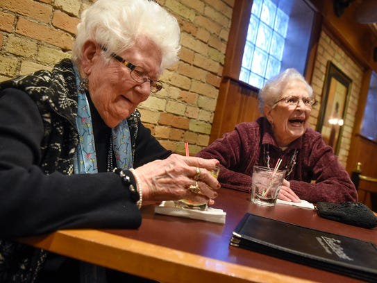 Lorraine Van Hale Wagner and Martha Gaetz share a laugh