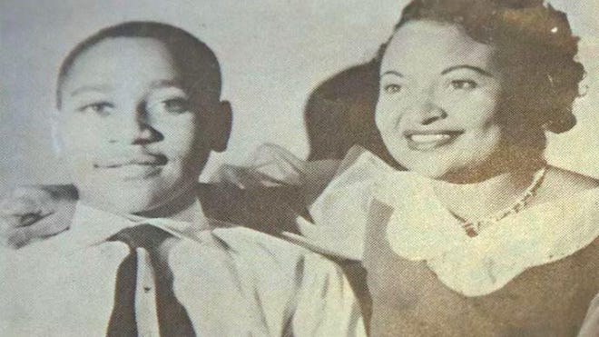 A 1950s photograph of Emmett Till and his mother Mamie Till Mobley, during a visit to Jackson, Miss.