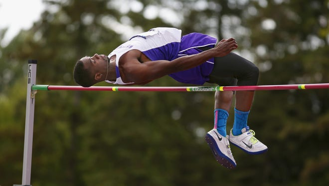 UW-Whitewater freshman and Green Bay Preble alum Robert Starnes competes in the high jump at the NCAA Division III outdoor track and field championships on May 23 in Canton, N.Y. Starnes won the event by clearing 7 feet, 1/4 inch.