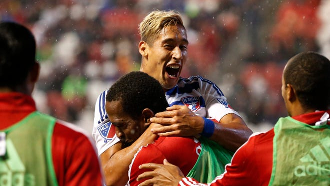 FC Dallas forward David Texeira celebrates his goal against Real Salt Lake at Rio Tinto Stadium.