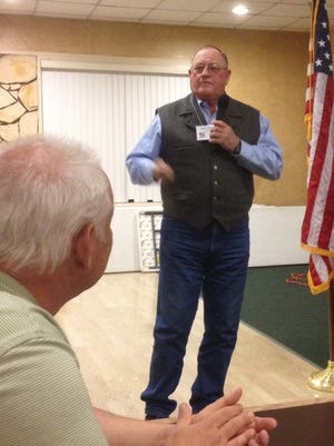 Lincoln County Commission Chair Preston Stone addresses county Republicans at their monthly meeting.