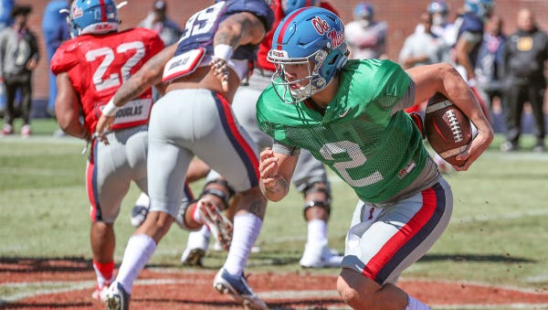 True freshman Matt Corral has positioned himself as Ole Miss' backup quarterback this spring.