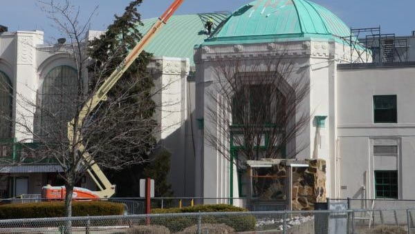 Roof repair work being done on the Playland Ice Casino.