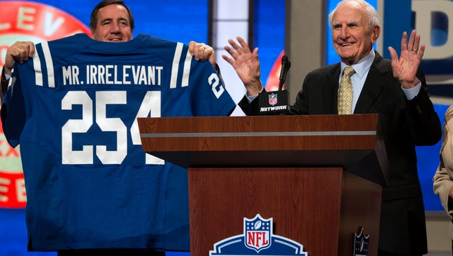 Former NFL receiver Paul Salata announces the 254th overall pick of the 2013 NFL draft. South Carolina tight end Justice Cunningham was picked by the Colts to conclude the draft.