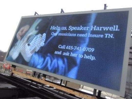 Several ads on billboards around Nashville in February