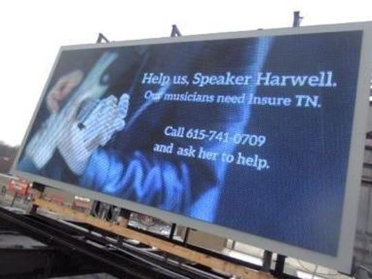 Several ads on billboards around Nashville in February