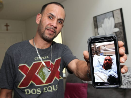 Luis Rodriguez of Vineland shares a photo from a difficult day of brain cancer treatment. Rodriguez is part of a new study that delivers high doses of chemotherapy straight to the brain tumor through a catheter, which spares healthy tissue.