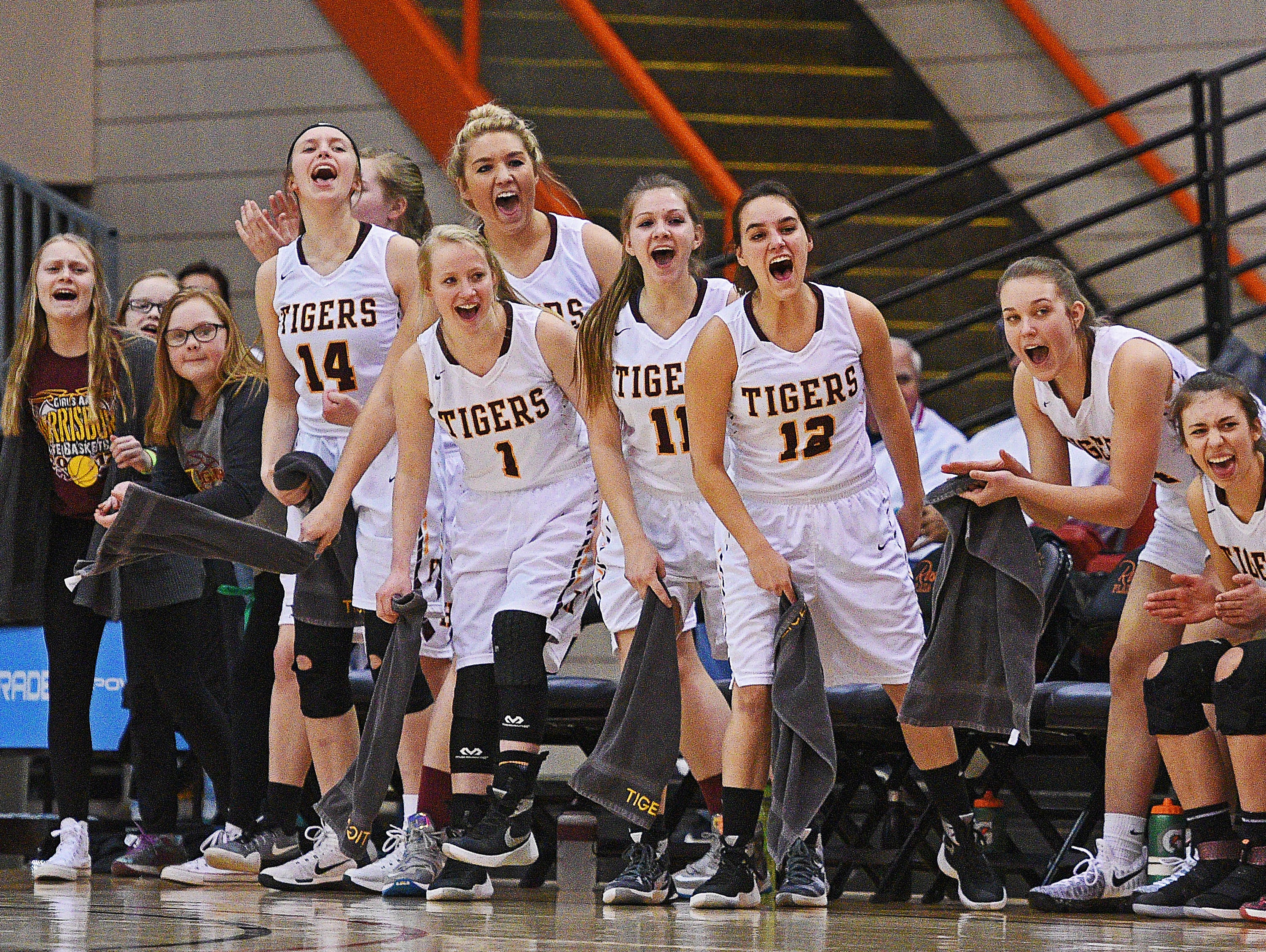 Harrisburg players react from the bench after a teammate scored during a 2017 SDHSAA Class AA State Girls Basketball semifinal game against Rapid City Central Friday, March 17, 2017, at Rushmore Plaza Civic Center in Rapid City. Harrisburg beat Rapid City Central 49-44, and will play in Saturday's final.