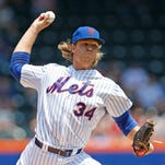 New York Mets starting pitcher Noah Syndergaard pitched a 7-0 shutout of the Philadelphia Phillies on Wednesday.