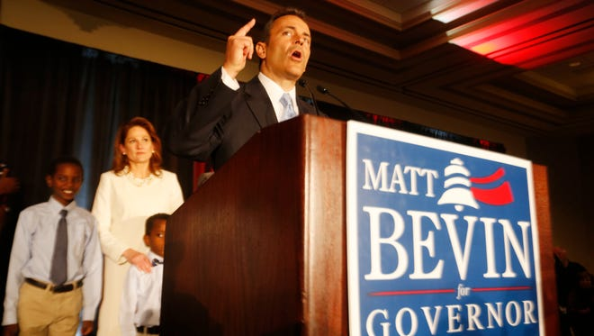 Governor Elect Matt Bevin made a point during  his victory speech at the Galt House East. Nov. 3, 2015.