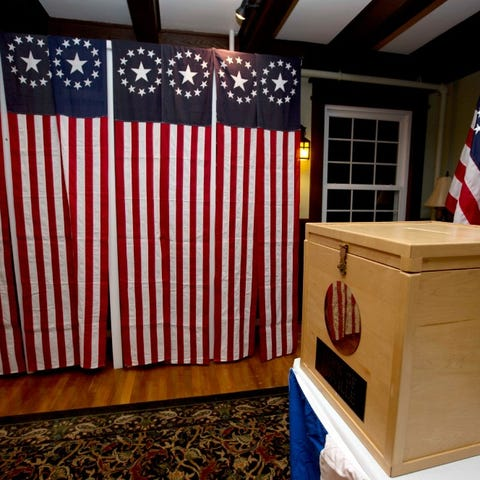 In this Nov. 7, 2016 file photo, a ballot box is...