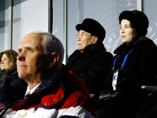 Kim Yo Jong, top right, sister of North Korean leader Kim Jong Un, sits alongside Kim Yong Nam, president of the Presidium of North Korean Parliament, and behind U.S. Vice President Mike Pence as she watches the opening ceremony of the 2018 Winter Olympics in Pyeongchang, South Korea, Friday, Feb. 9, 2018. (AP Photo/Patrick Semansky, Pool)
