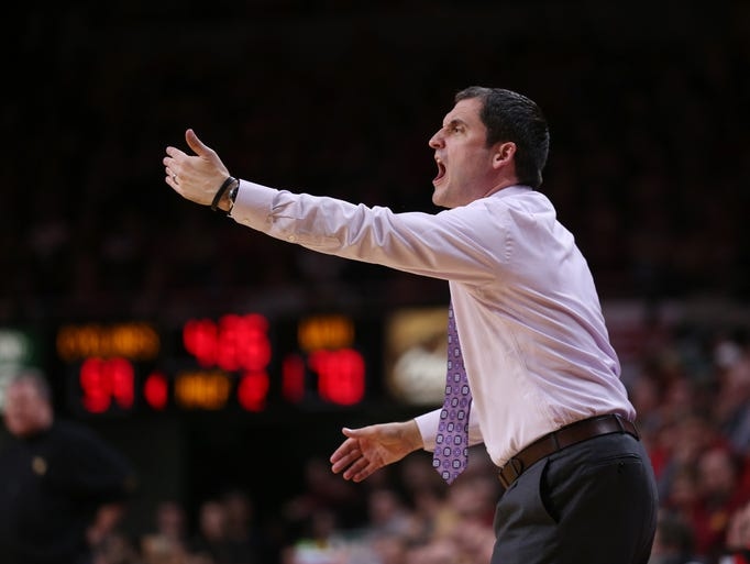 Iowa State coach Steve Prohm yells to his team during