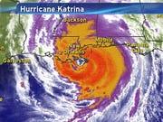A satellite image of Hurricane Katrina at 6 a.m. ET on Aug. 28, 2005, heading toward Louisiana's coastline.