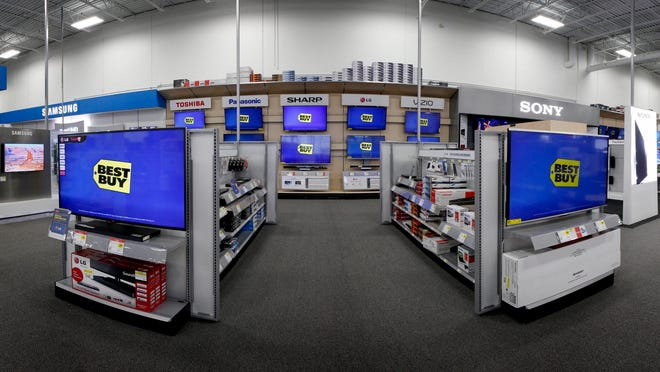 The home theater department at a Best Buy store in Rochester, Minn.