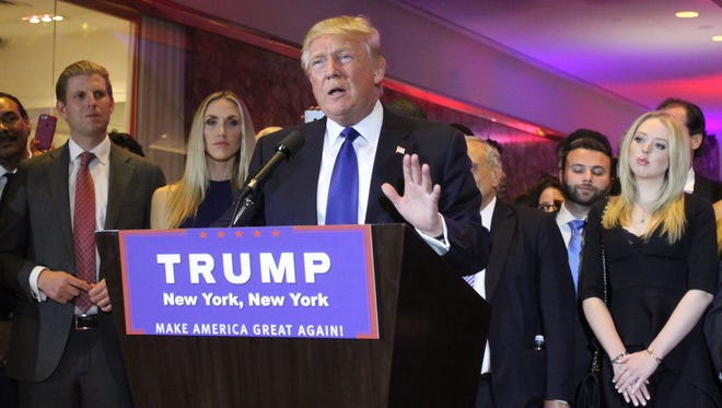 Republican presidential candidate Donald Trump speaks to a crowd of supporters after the New York Primary at Trump Towers in Manhattan on April 19, 2016.