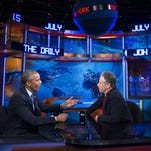"President Barack Obama talks with Jon Stewart, host of ""The Daily Show with Jon Stewart"" during a recent taping in New York."