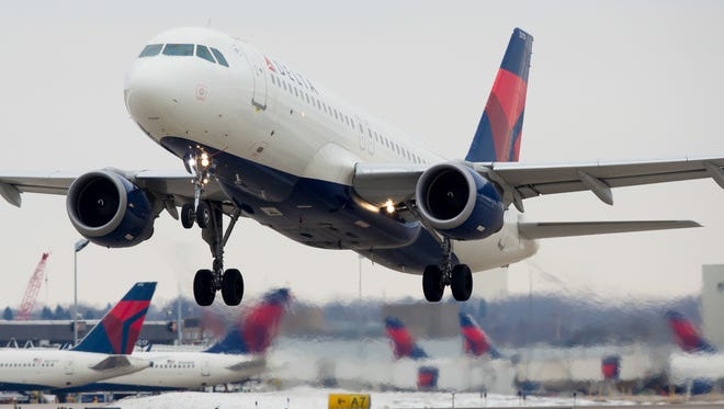 This file photo shows a Delta Air Lines Airbus A320 taking off from Minneapolis St-Paul International Airport in January 2017.