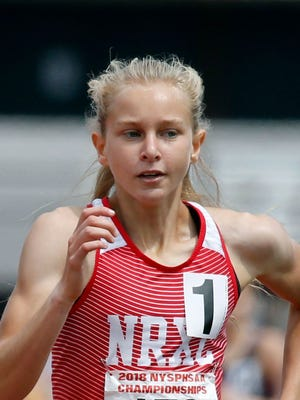 Katelyn Tuohy, of North Rockland, runs the girls 1,500 meters during the NYSPHSAA Outdoor Track & Field Championships at Cicero-North Syracuse High School on Saturday.  Carlos Ortiz/USA Today Network Katelyn Tuohy of North Rockland in the Girls 1,500 meter run during the NYSPHSAA Outdoor Track & Field Championships at Cicero-North Syracuse High School.