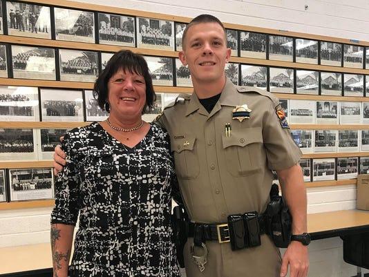 DPS Trooper Tyler Edenhofer with his mother
