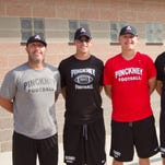 Pinckney High School football coaches, from left, Rod Beaton, Andy Doup, Jakob Gailitis, Cody Patton and Jesse Cogswell.