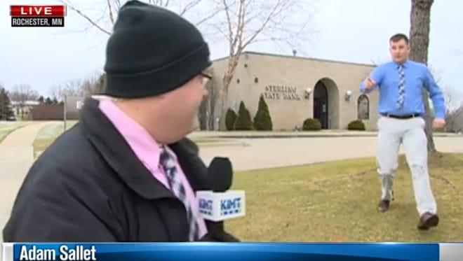 YouTube screen grab of reporter Adam Sallet.
