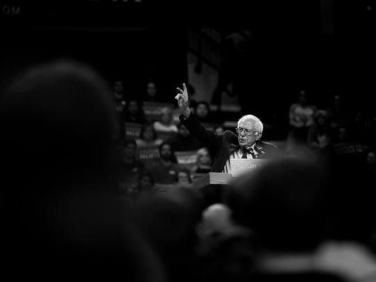 Democratic presidential candidate Bernie Sanders speaks during his campaign stop at UW-Green Bay on Friday, April 1, 2016.