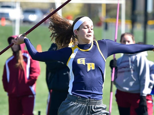 Greencastle-Antrim's Keri Gearhart winds up to throw the javelin during a meet vs. Shippensburg on Tuesday. Gearhart helped her team win by taking first with a throw of 98-6.