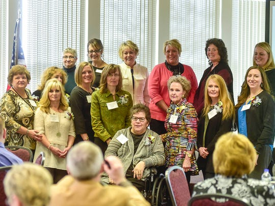 The 2017 nominees for the Athena Award and the people who nominated them are introduced to the audience during the award luncheon on Monday.