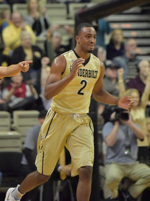 Jan 24, 2017; Nashville, TN, USA; Vanderbilt Commodores guard Joe Toye (2) celebrates in the second half against the Arkansas Razorbacks at Memorial Gymnasium. Mandatory Credit: Jim Brown-USA TODAY Sports