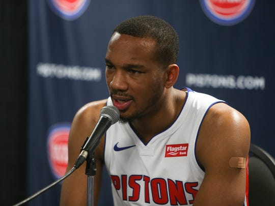 Pistons' Avery Bradley talks with reporters at media day Sept. 25, 2017 at the Palace in Auburn Hills.
