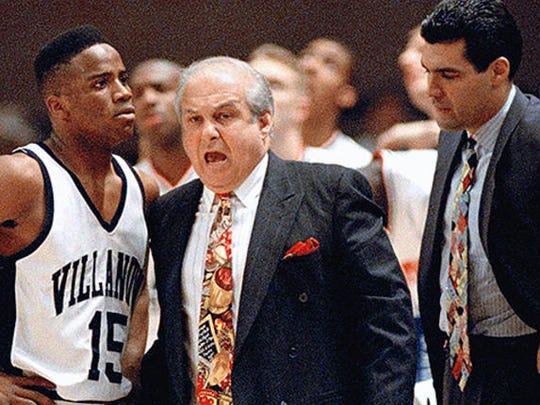 Jay Wright, right, was an assistant under Rollie Massimino.