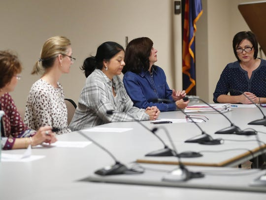Scottsdale Unified School District board President Barbara Perleberg (right) speaks during a governing-board meeting Jan. 30, 2018.