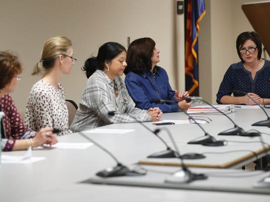Scottsdale Unified School District board President Barbara Perleberg (right) speaks during a governing-board meeting Jan. 30, 2018. The board accepted the resignation of former CFO Laura Smith, who resigned after payments to a company she had ties with were reported.