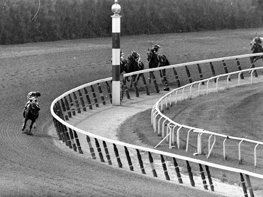 FILE - In this June 9, 1973, file photo, jockey Ron Turcotte, aboard Secretariat, turns for a look at the field as they make the final turn on the way to winning the Belmont Stakes horse race, and the Triple Crown, in Elmont, N.Y. (AP Photo/Dave Pickoff, File)