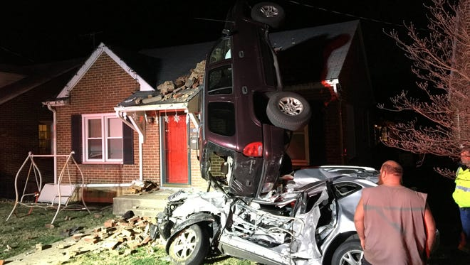 An SUV nearly landed on the roof of a home Saturday night in Waynesboro following a crash on Pine Avenue.