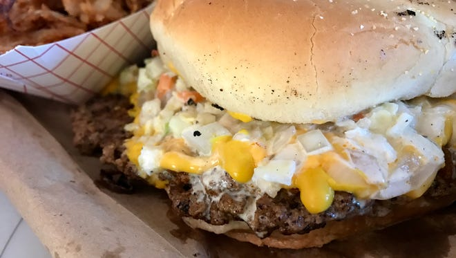 The Carolina Burger with hand-chopped slaw from Butch's Famous Burgers in North Fort Myers.
