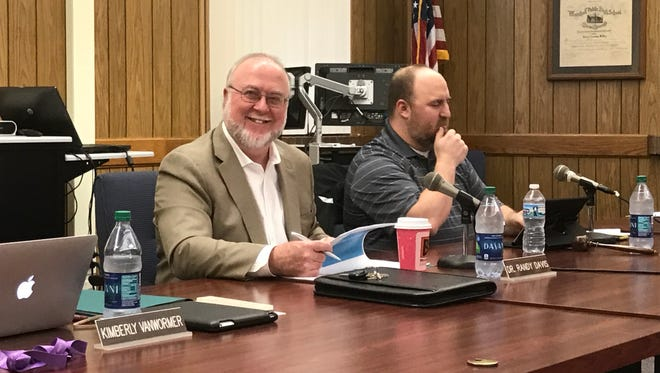 Marshall Public Schools Superintendent Randy Davis, center, defended a school board member and his high school principal after they chastised two U.S. Marines for wearing their dress uniforms to graduation.