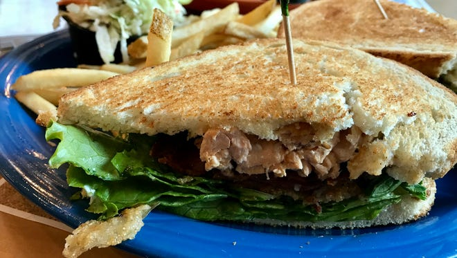The salmon BLT is made with fried green tomatoes at Mel's Diner.