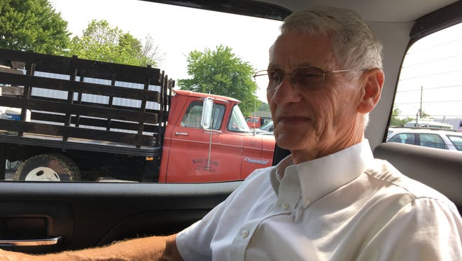 William Campbell sits in the back seat of Randy Meade's pick-up truck at Meading Trucking Company on Friday, Aug. 11, 2017. Diagnosed with stage four colon cancer, Campbell says he has four to six months left to live and just wants to spend his remaining time putting a smile on the face of others so they can forget about their problems and feel God's love. Every year he works tirelessly to put on a free-to-the-public truck and gospel show at Augusta Expo in Fishersville.