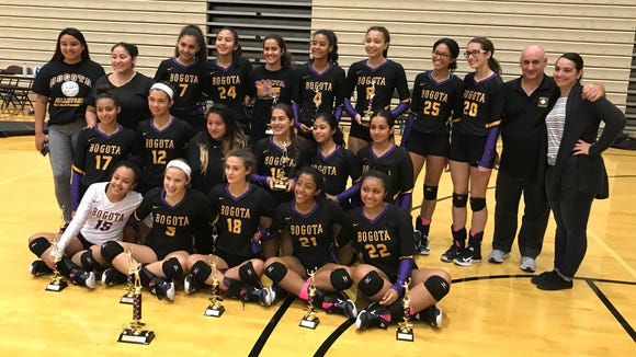 The Bogota girls volleyball team repeated as champion of the Mary Ann Collura Tournament at the William Paterson Rec Center on Saturday, Sept. 30, 2017.