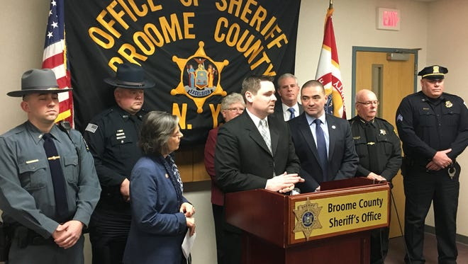 Broome County STOP-DWI Coordinator Chris Marion speaks Friday during a news conference.