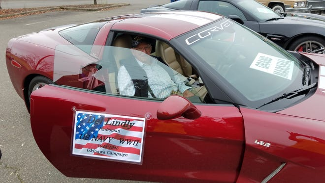 Delbert Lewis Lindly sits in Jim Lindly's 2007 Corvette at the Roseburg Veterans Day Parade in 2016.