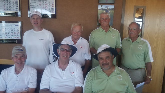 Seated from left, El Paso/Las Cruces Old Timers Golf Group tournament winning team: Joe Bechtol, Picacho Hills; Paul Robertson, Vista Hills; Paul Tarango, Lone Star. Standing, from left, first place winner Dave Epperson, Painted Dunes; Close to pin on par three - Steve Meitler, Coronado; close to pin on par three - Jerry Romines, Red Hawk; Old timers Golf president Tom Bartlett, New Mexico State University.