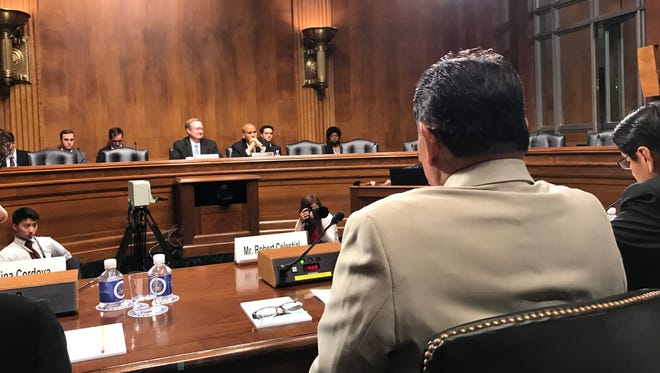 Pacific Association of Radiation Survivors President Robert Celestial testifies during a Senate committee hearing on June 27, 2018.