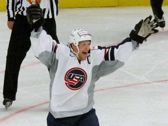 STP18D:SPORT-ICE HOCKEY:ST.PETERSBURG,RUSSIA,1MAY00 - Phil Housley of USA celebrates scoring a goal against Russia during their World Championship ice hockey match in St.Petersburg, May 1.       ad/Photo by Alexander Demianchuk     REUTERSSTP18D