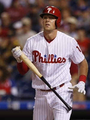 Philadelphia Phillies slugger Rhys Hoskins (17) in action during a baseball game against the New York Mets, Friday, Sept. 29, 2017, in Philadelphia. (AP Photo/Laurence Kesterson)