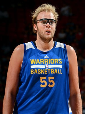 Matt Stainbrook of the Golden State Warriors stands on the court during a game against the New Orleans Pelicans during a 2015 NBA Las Vegas Summer League game on July 18 at Thomas & Mack Center in Las Vegas.